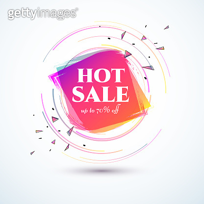 Banner hot sale 70 off Bright duotone gradient banner for web stores shop online sale sticker promo action Modern label price tag theme business ad marketing promotion Hot summer color gradient Vector