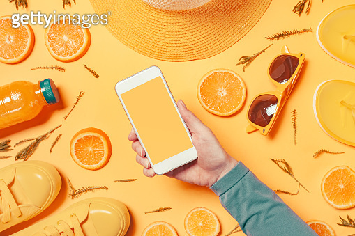 Smartphone mock up in summertime holiday vacation concept