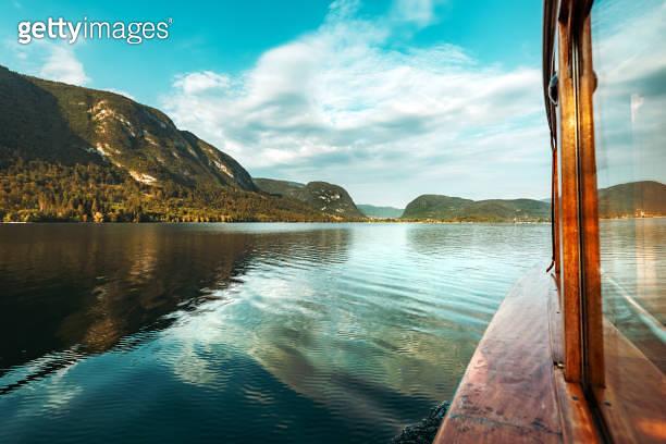 Sailing on Lake Bohinj in summer