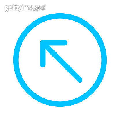 arrow line pointing left up in circle blue isolated on white, arrow in circular strokes for direction left up, arrows button simple, arrow symbol circle line for ui app, arrowhead pointer up