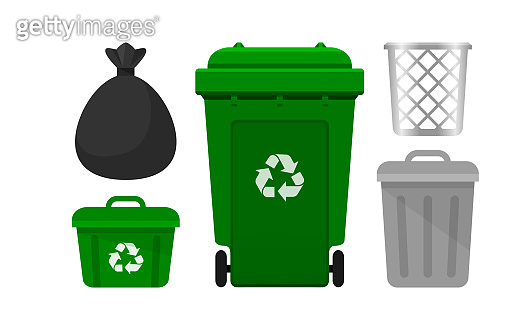 bin collection, green recycle bin and plastic bags waste isolated on white background, bins with recycle waste symbol, front view set of the bins and bag plastic for garbage waste, 3r trash