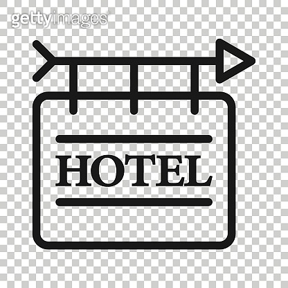 Hotel sign icon in flat style. Inn vector illustration on white isolated background. Hostel room information business concept.