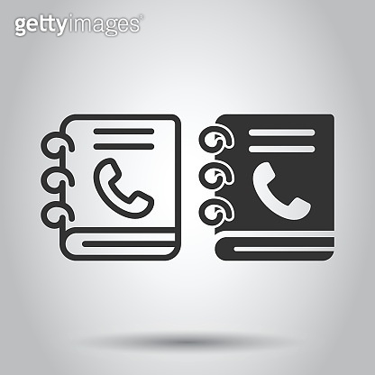 Address phone book icon in flat style. Telephone notebook vector illustration on white isolated background. Hotline contact business concept.