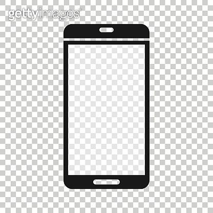 Smartphone blank screen icon in flat style. Mobile phone vector illustration on white isolated background. Telephone business concept.