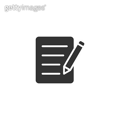 Blogging icon in flat style. Document with pen vector illustration on white isolated background. Content business concept.
