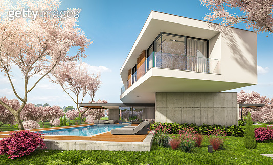 3d rendering of modern house on the hill in spring