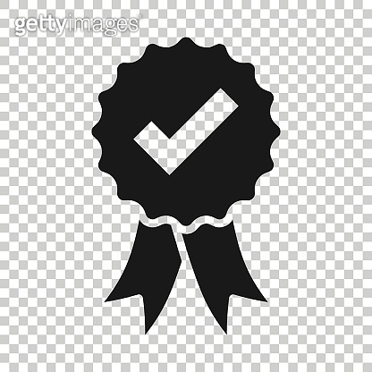 Winner with check mark icon in flat style. Rosette award vector illustration on white isolated background. Medal business concept.