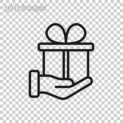 Gift box icon in flat style. Present on hand vector illustration on white isolated background. Surprise business concept.