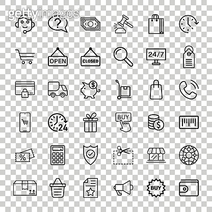 Shopping icon set in flat style. Online commerce vector illustration on white isolated background. Market store business concept.