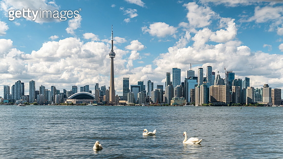 Toronto Skyline and Lake Ontario Panoramic View During Summer, Toronto, Ontario, Canada