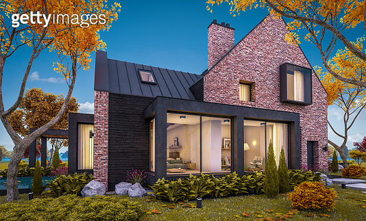 3d rendering of modern clinker house on the ponds with pool in autumn evening