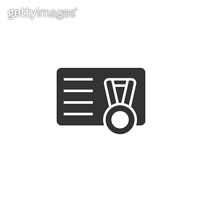 Vip card with medal icon in flat style. Document award trophy vector illustration on white isolated background. Winner badge business concept.