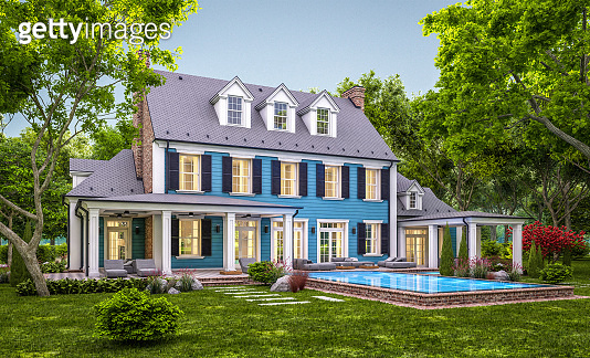 3d rendering of modern classic house in colonial style in evening