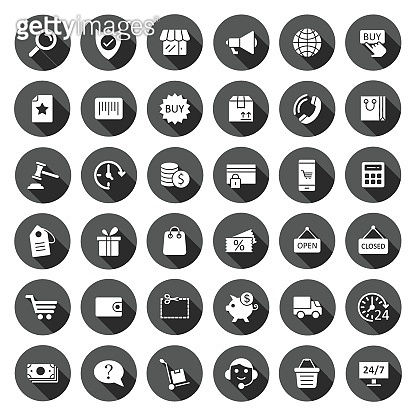 Shopping icon set in flat style. Online commerce vector illustration on black round background with long shadow effect. Market store circle button business concept.