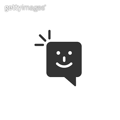 Happy sms icon in flat style. Message speech bubble vector illustration on white isolated background. Envelope business concept.