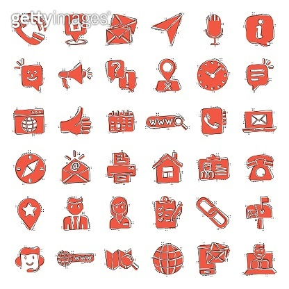 Contact us icon set in comic style. Mobile communication cartoon vector illustration on white isolated background. Phone call splash effect business concept.
