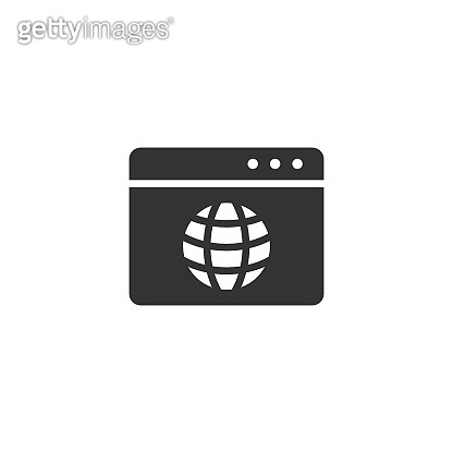 Website domain icon in flat style. Global internet address vector illustration on white isolated background. Server business concept.