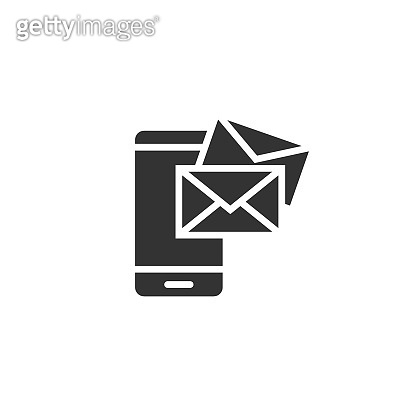Message on smartphone icon in flat style. Mail with phone vector illustration on white isolated background. Envelope business concept.