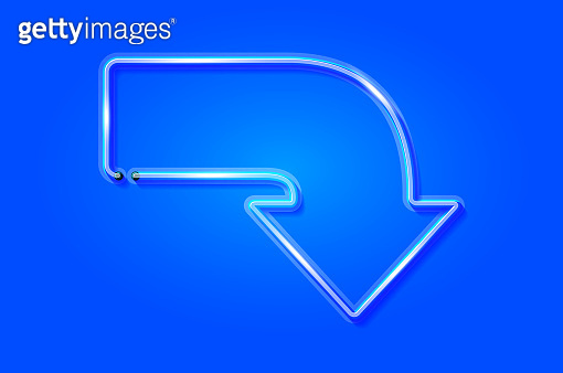 Curved down arrow glowing neon sign or LED strip light on blue background. Vector art
