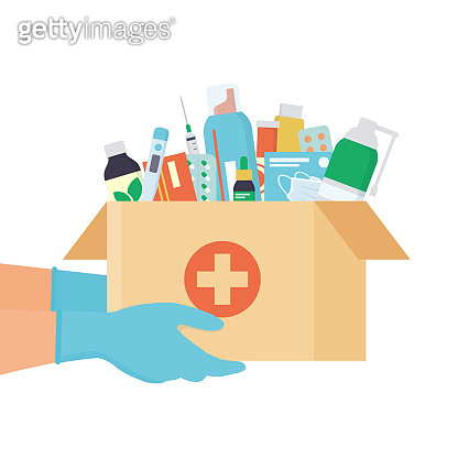 Hands in disposable gloves with open cardboard box with medicines, drugs, pills and bottles inside