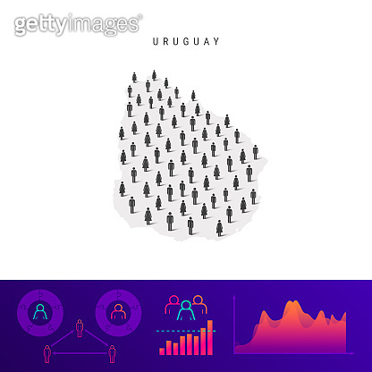 Uruguayan people icon map. Detailed vector silhouette. Mixed crowd of men and women. Population infographics