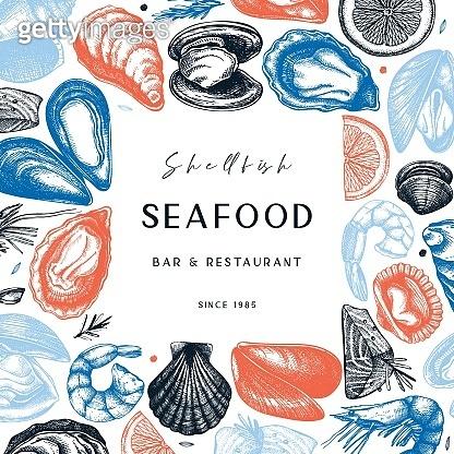 Hand sketches seafood frame design.