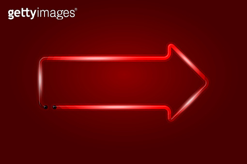 Arrow right glowing neon sign or LED strip light on red background. Vector art