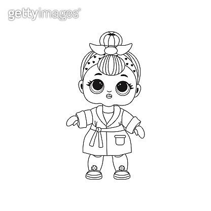 Cute Lol doll. Coloring book for kids. Black and white vector illustration.