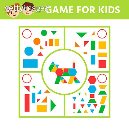 Connect the details and animals of geometric shapes. Preschool worksheet activity.