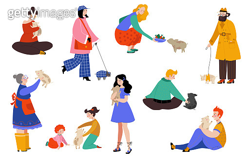 People pet pig owner vector illustration, cartoon flat happy woman man character have fun with pig, love, hug piggy set isolated on white