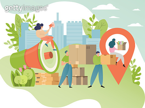 Moving concept vector illustration. People cartoon character move cardboard box. Movement to new place, relocation.