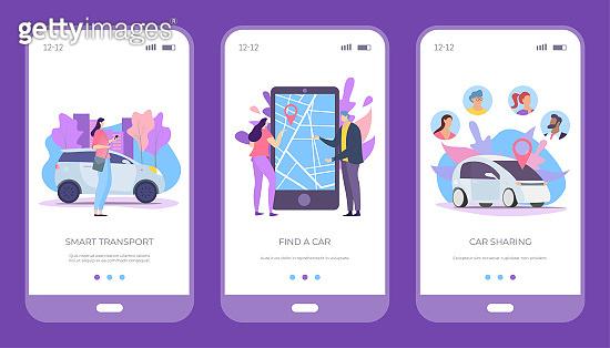Find car, smart transport and car sharing set, vector illustration. Rental vehicle service, smartphone application online.
