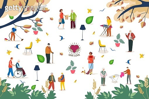 Help in house work for elderly people, vector illustration. Social worker with senior man woman, service for retirement. Volunteer