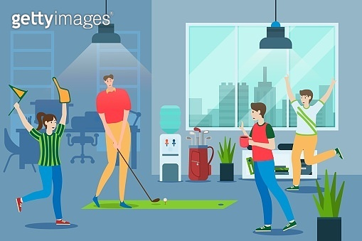 Worker people play golf at office, vector illustration. Fun active game indoor at brak time, recreation. Woman man character
