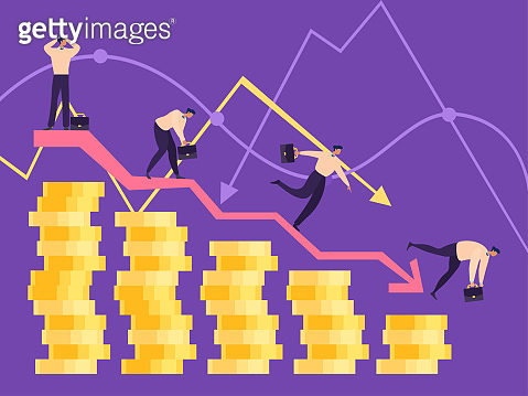 Business people on falling down concept, vector illustration. Deterioration in profit worker, entrepreneur. Gradual fall character