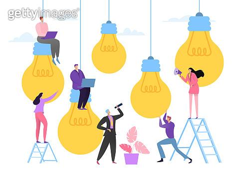 Business idea meeting concept, vector illustration. Company team people choose succesful idea, creative teamwork. Man woman