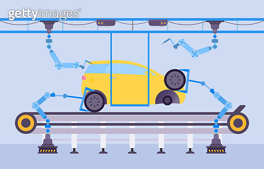 Car production factory concept vector Illustration. Automotive construction using cartoon robotic equipment on conveyor plant.