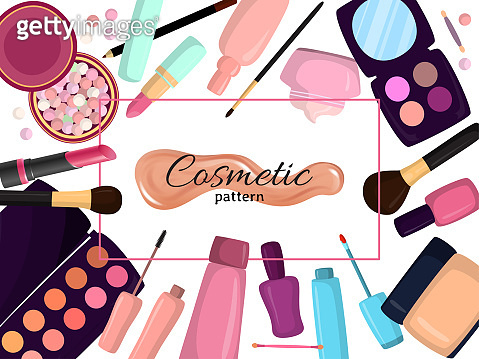 Cosmetics in bag, bagful makeup masters pink color with set plaster shadows, creams and lipsticks, design flat vector illustration