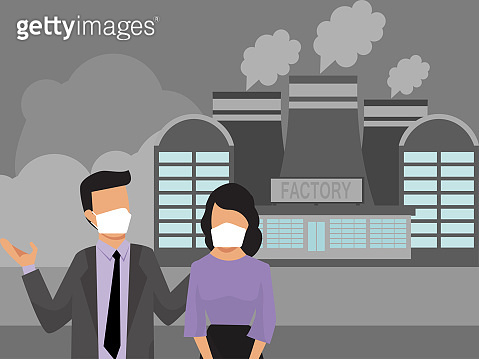 People in masks on background factory smog pollutions. Industrial air smoke pollution and urban people. City dwellers in medical protective masks