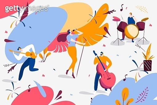 Musical band concert performance vector illustration. Singer character near microphone with musicians cello, guitar, cartoon drums