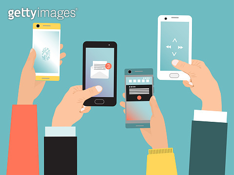 Concept hand hold mobile phone, modern communication life with smartphone isolated on blue, flat vector illustration. Online virtual technology phone.