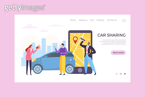 Car sharing mobile app service, vector illustration. Online order and map on smartphone, people character rent transport online.
