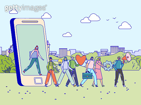 Loyalty referral program concept, happy people walking out of smartphone and following leader, vector illustration