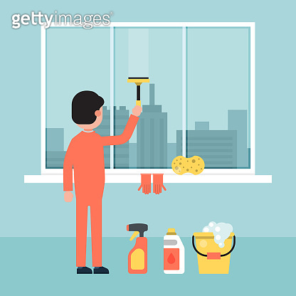 Character male cleaning building window, wash screen city background flat vector illustration. Design urban service personnel construction.