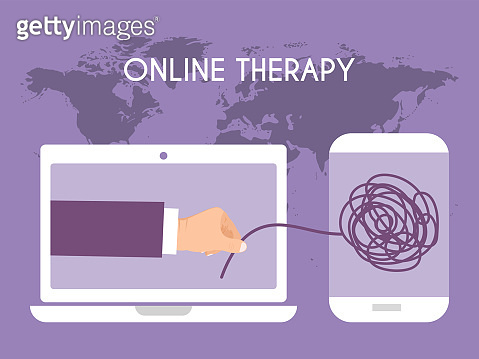 Online psychological help vector illustration. On line psychotherapy counseling concept. Human mental problem solutions.