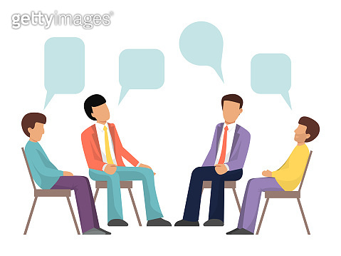 Group therapy concept. Psychotherapy in groups design vector illustration. Men characters are sitting in a circle and talking about problems with speech bubbles