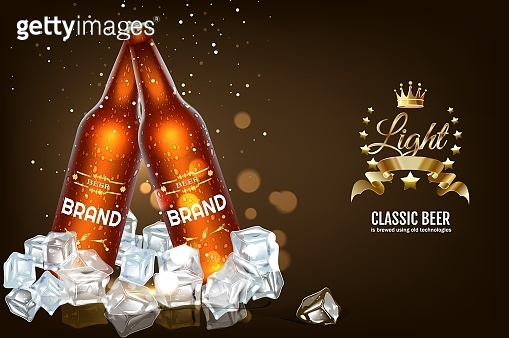 beer bottles and cans with ice vector