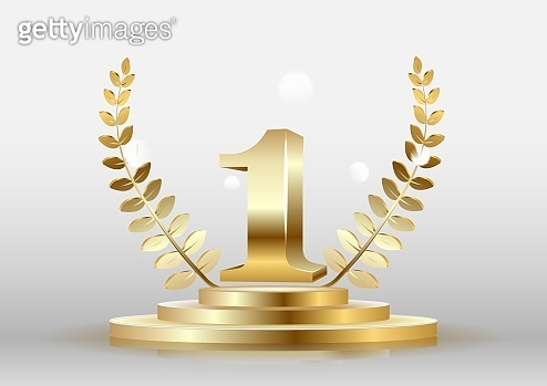 Winner round pedestal with golden number one symbol, laurel wreath and ribbon isolated on blue. Vector poster or banner template.