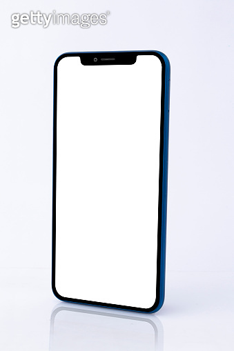 Blue Modern Isolated Smart Phone. Blank screen for mockup.