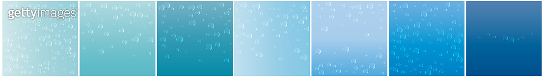 Underwater fizzing air bubbles on blue background. Fizzy sparkles in water, sea, aquarium, ocean. Effervescent drink. Undersea vector texture.